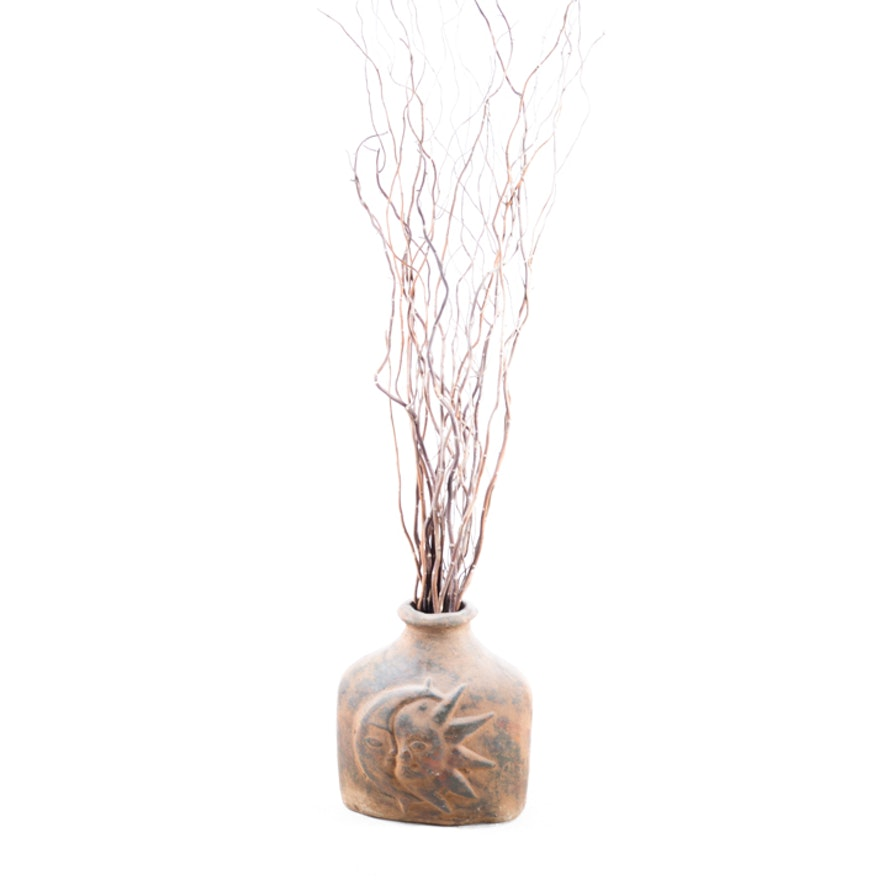 Decorative Curly Willow Branches In Ceramic Pottery Vase Ebth