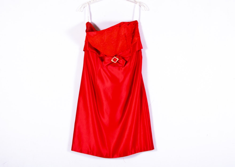 Jessica McClintock Red Strapless Dress