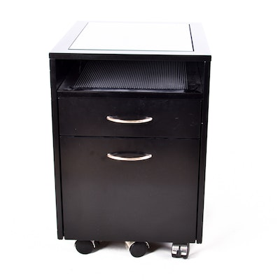 Black Two Drawer Filing Cabinet With Glass Top