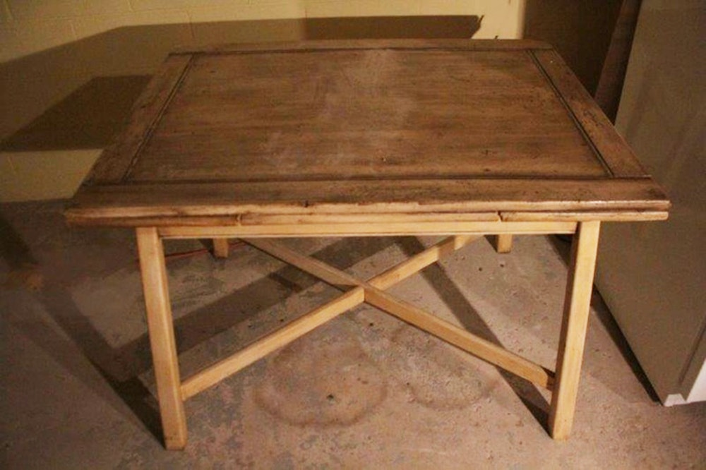 Vintage Painted Oak Slide Leaf Dining Table EBTH