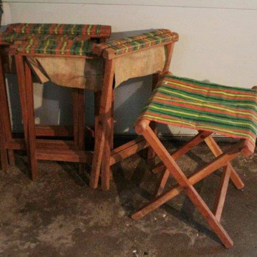 Excellent Set Of Vintage Folding Camp Stools Bralicious Painted Fabric Chair Ideas Braliciousco
