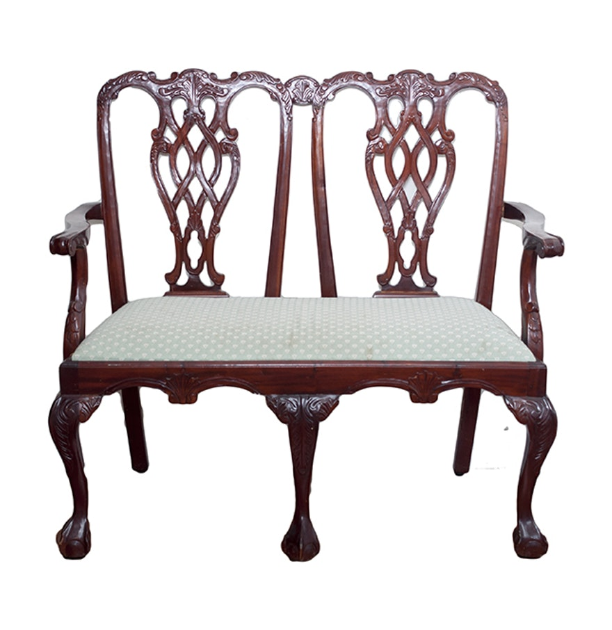 Chippendale Style Double Chair Settee Ebth