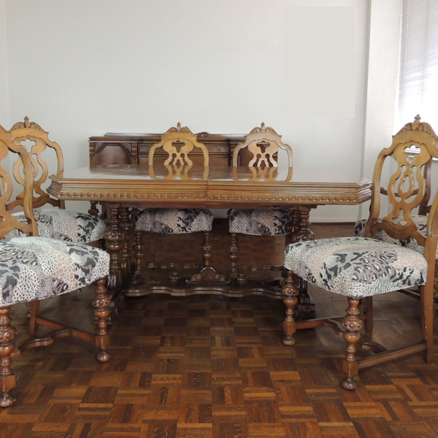 Jacobean Revival Burled Walnut Dining Table And Six Chairs EBTH - Burled walnut dining table