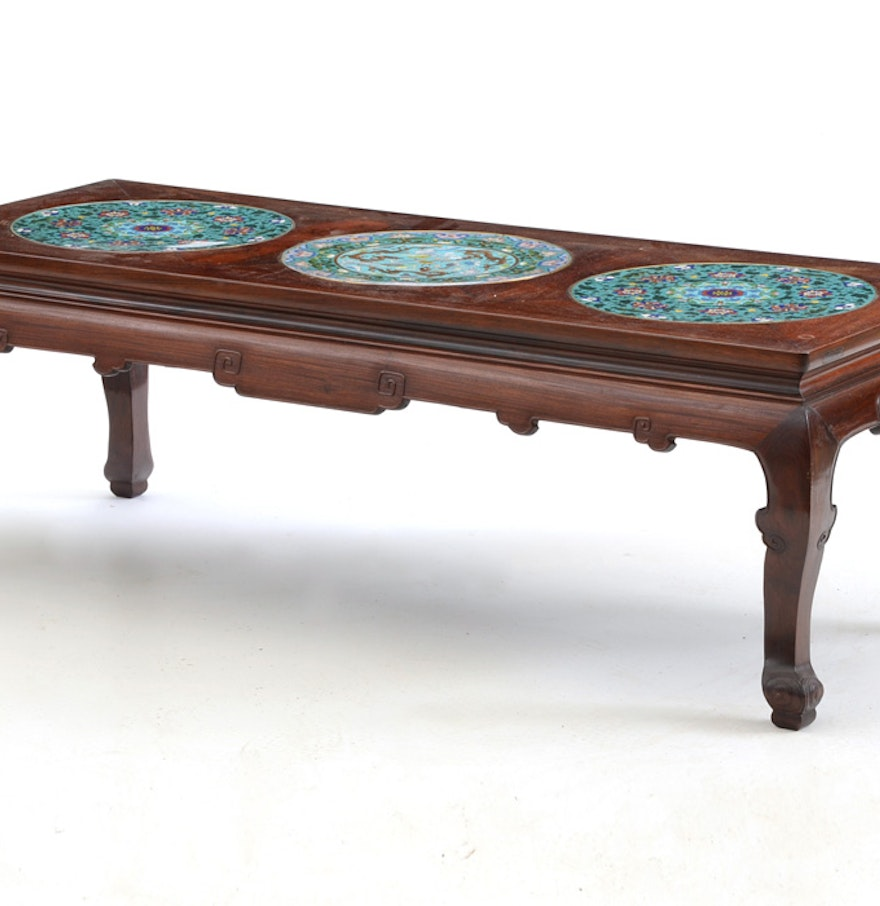 Chinese rosewood and cloisonne coffee table ebth for Asian furniture uk