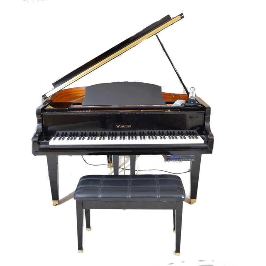 Wurlitzer black baby grand piano ebth for Smallest baby grand piano dimensions