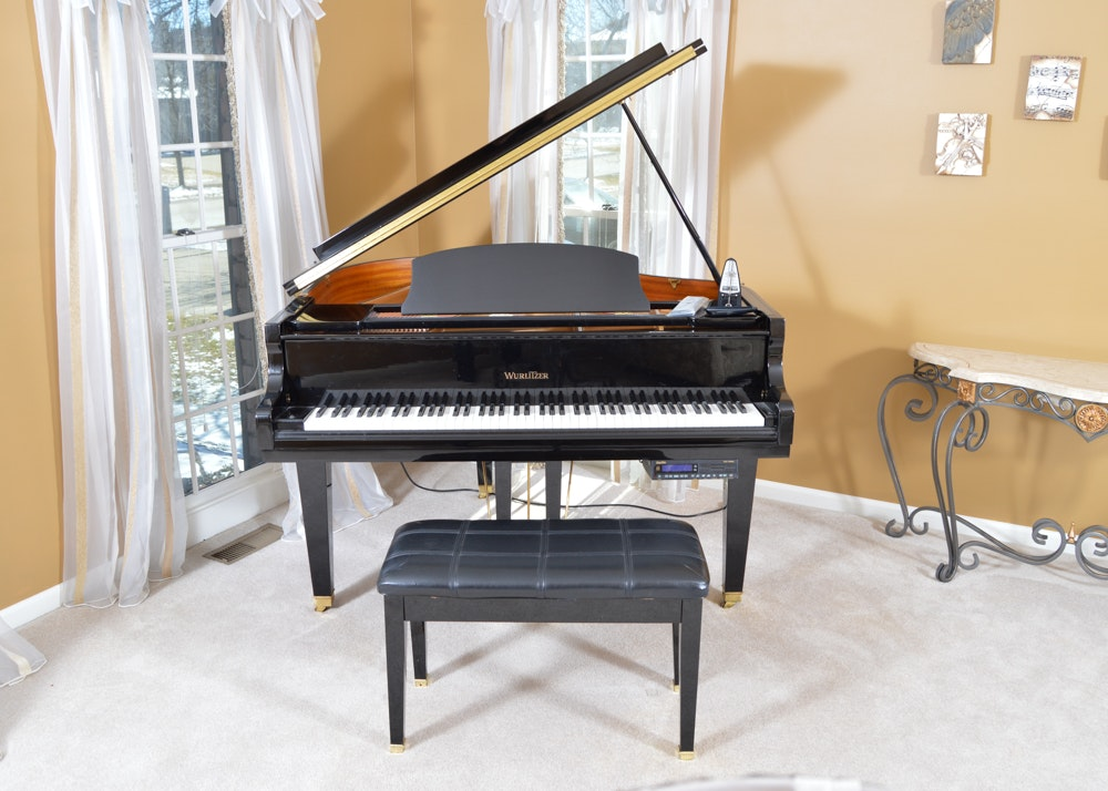 Wurlitzer black baby grand piano ebth for Smallest baby grand piano dimensions