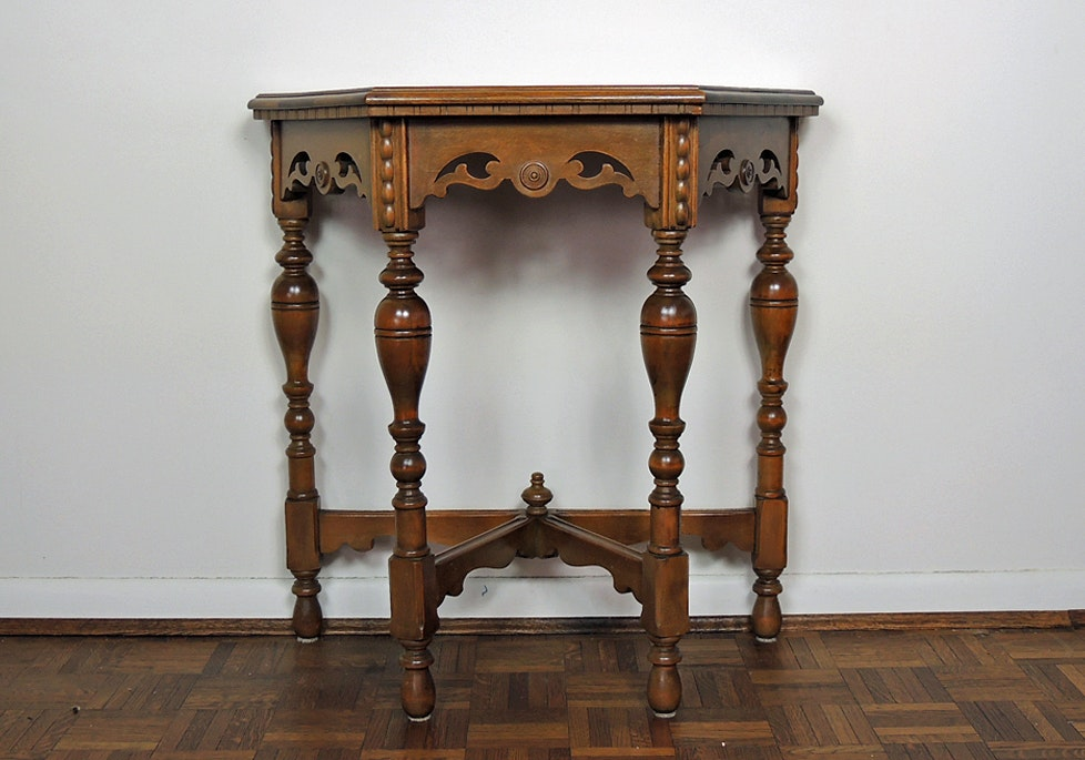 Jacobean Revival Walnut Entry Table ...
