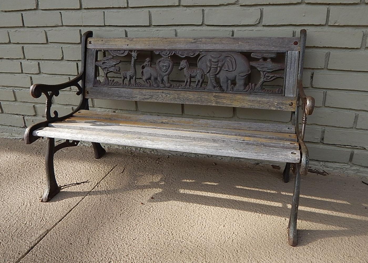 Vintage Cast Iron Children S Zoo Animal Themed Bench Ebth
