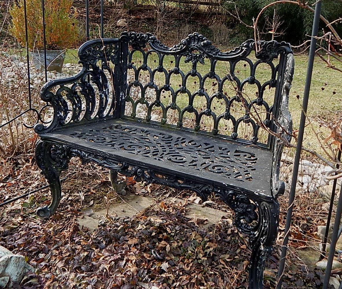 Ornate Black Metal Garden Bench