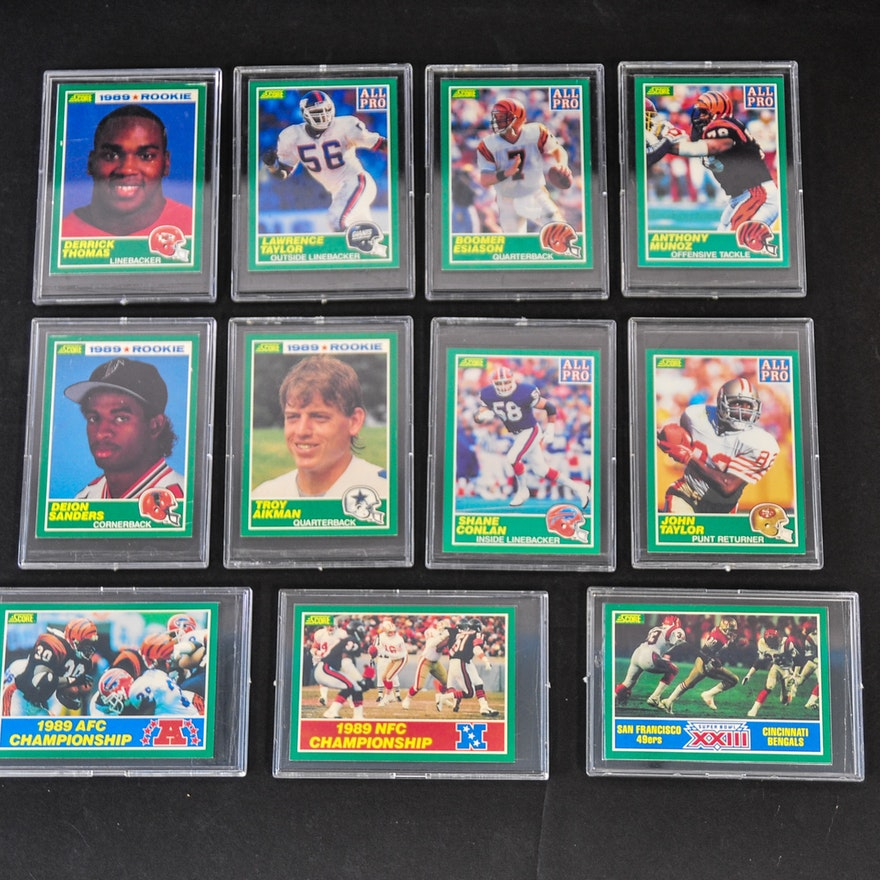 Set Of 1989 Score Football Cards Including A Troy Aikman Rookie Card