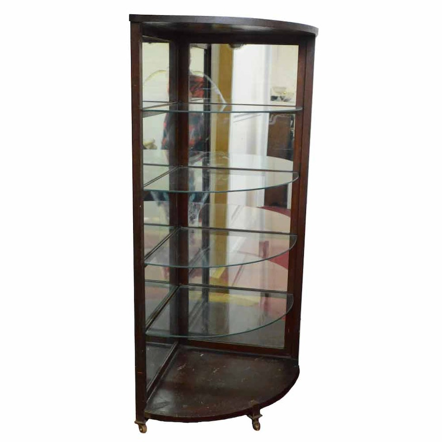 Antique Mahogany Corner Display Cabinet ... - Antique Mahogany Corner Display Cabinet : EBTH