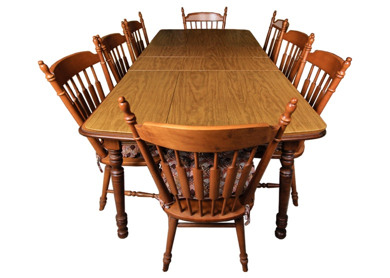 Maple Kitchen Table With Chair And Bench Ebth: Tell City Chair Company Dining Table With Eight Chairs : EBTH