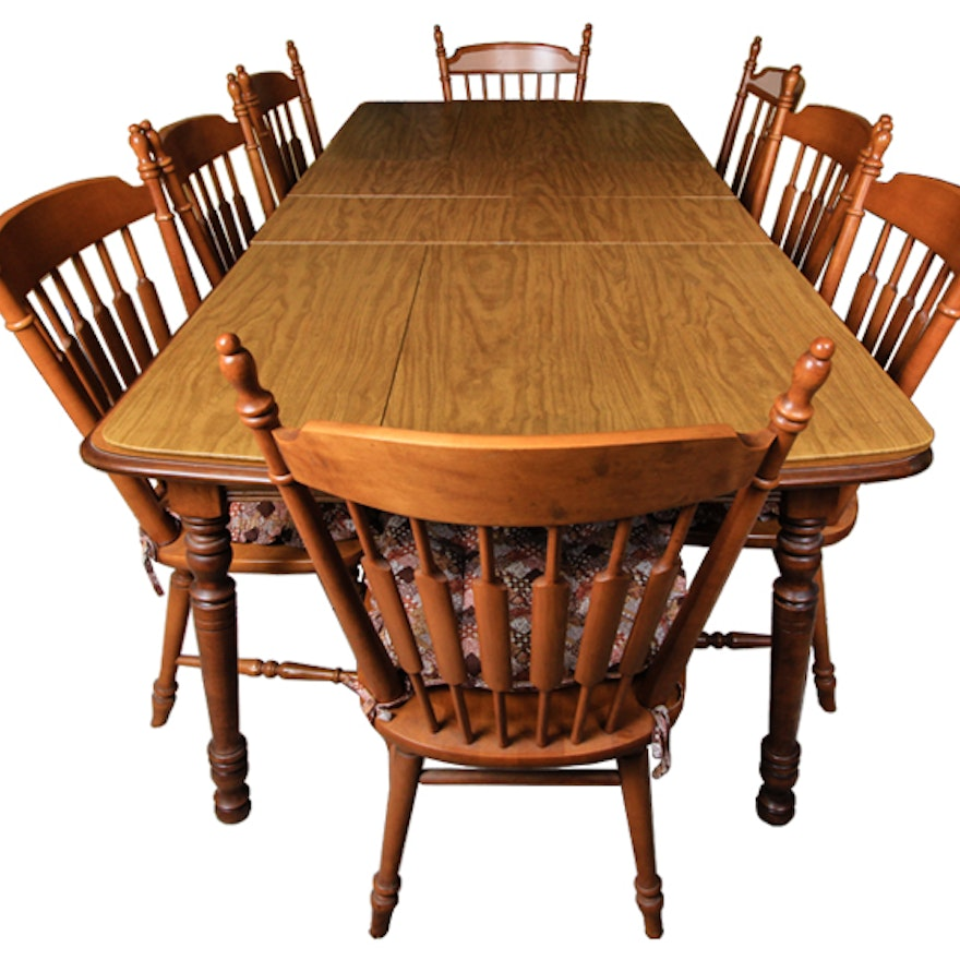 Tell City Chair Company Dining Table With Eight Chairs Ebth