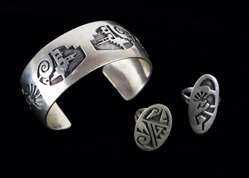 vintage sterling silver hopi cuff and two rings all