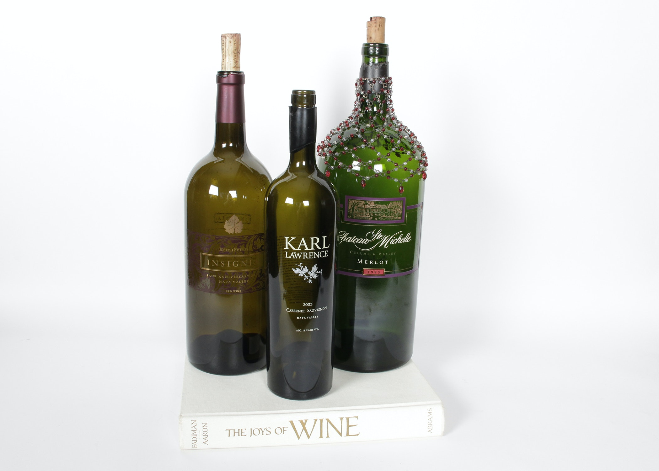 "Decorative Wine Bottles Inspiration Trio Of Oversized Decorative Wine Bottles With ""the Joys Of Wine Design Decoration"