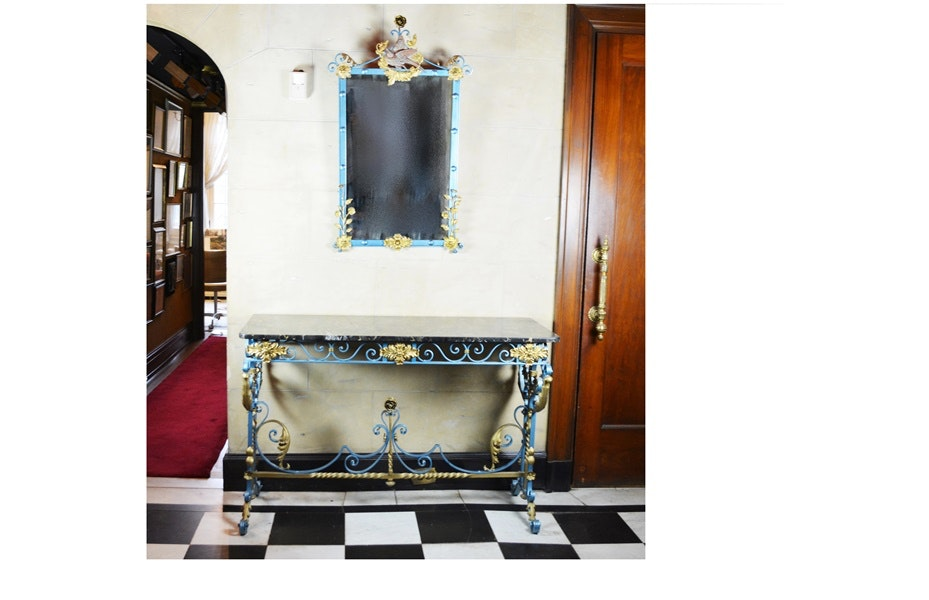 French Marble and Wrought Iron Console Table with Mirror