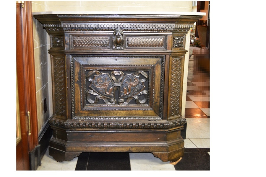 Antique Elizabethan Style Ornately Carved Low Cupboard