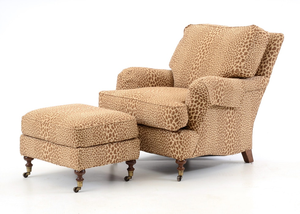 Gentil Lee Industries Leopard Print Chair And Ottoman