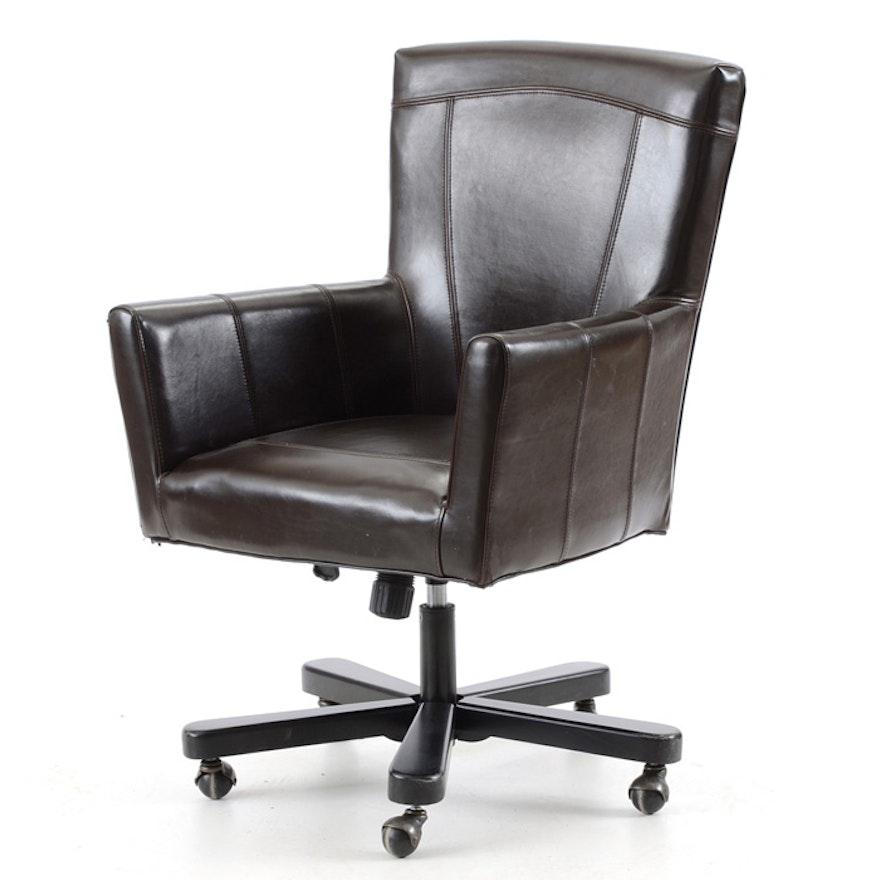 Arhaus Furniture Rolling Leather Desk Chair Ebth