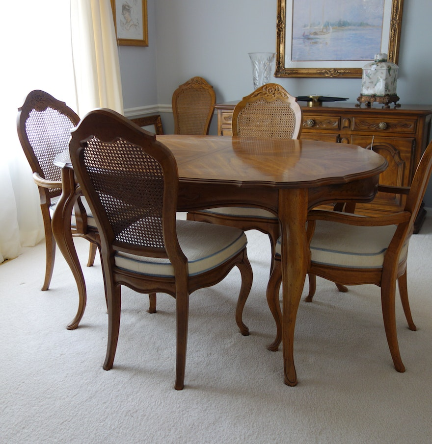 Drexel French Provincial Style Dining Table And Six Chairs