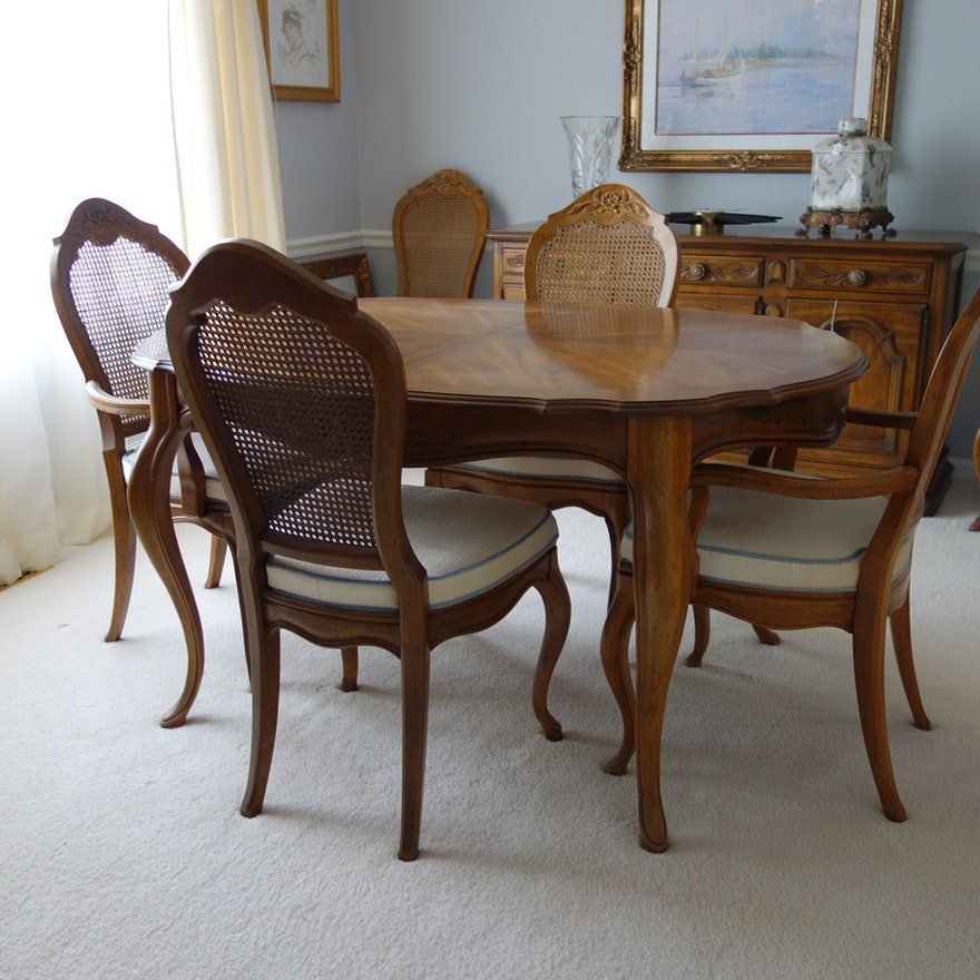 Fantastic Drexel French Provincial Style Dining Table And Six Chairs Bralicious Painted Fabric Chair Ideas Braliciousco
