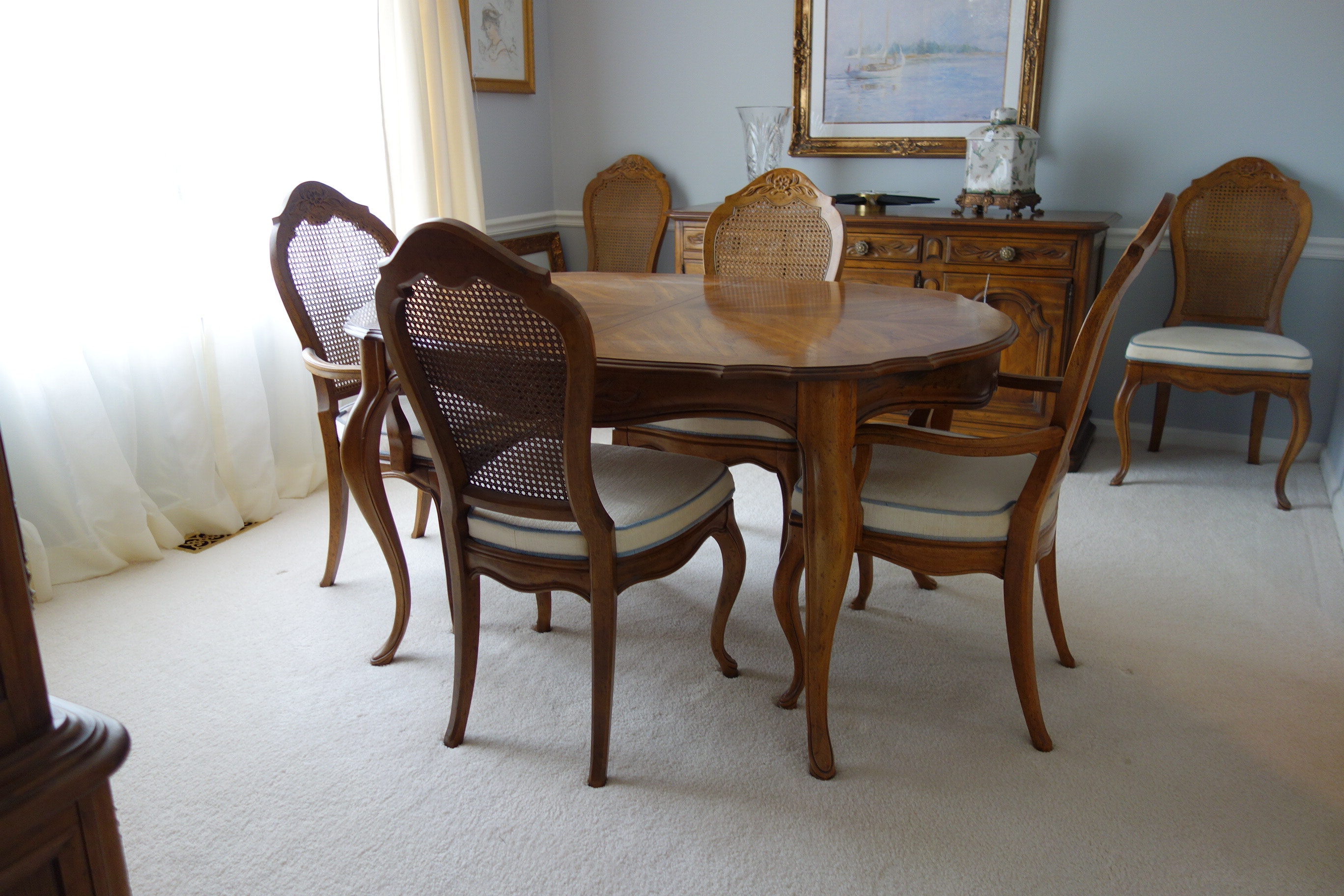 Drexel French Provincial Style Dining Table And Six Chairs ...