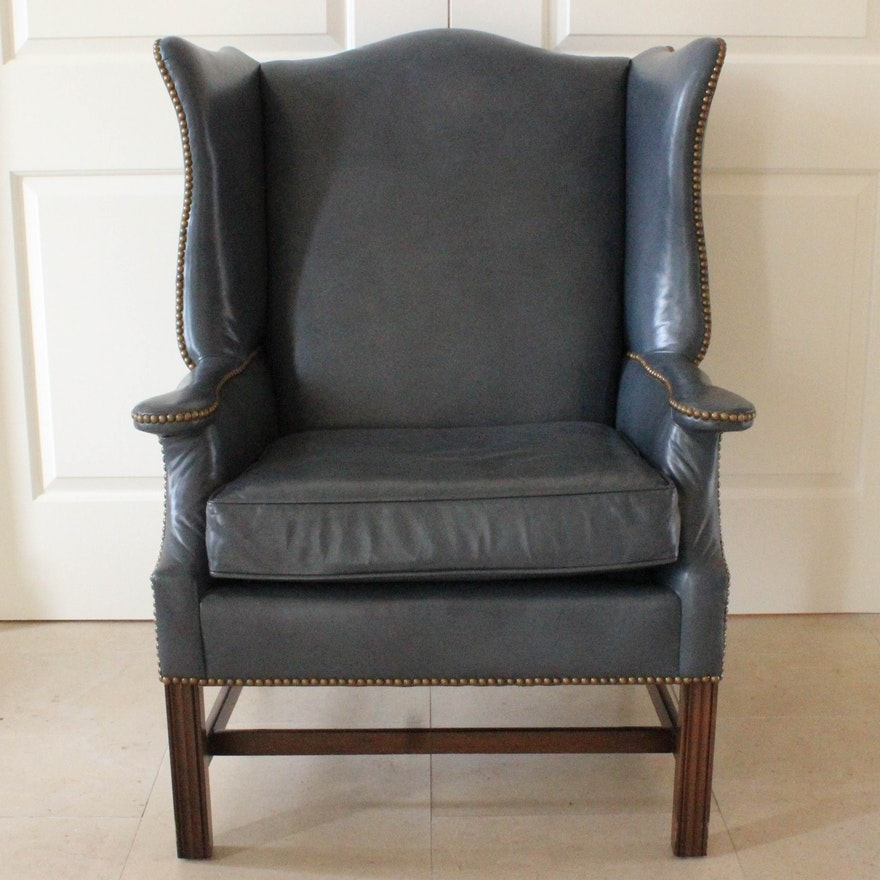 Loeblein Creations Blue Leather Wingback Chair Ebth