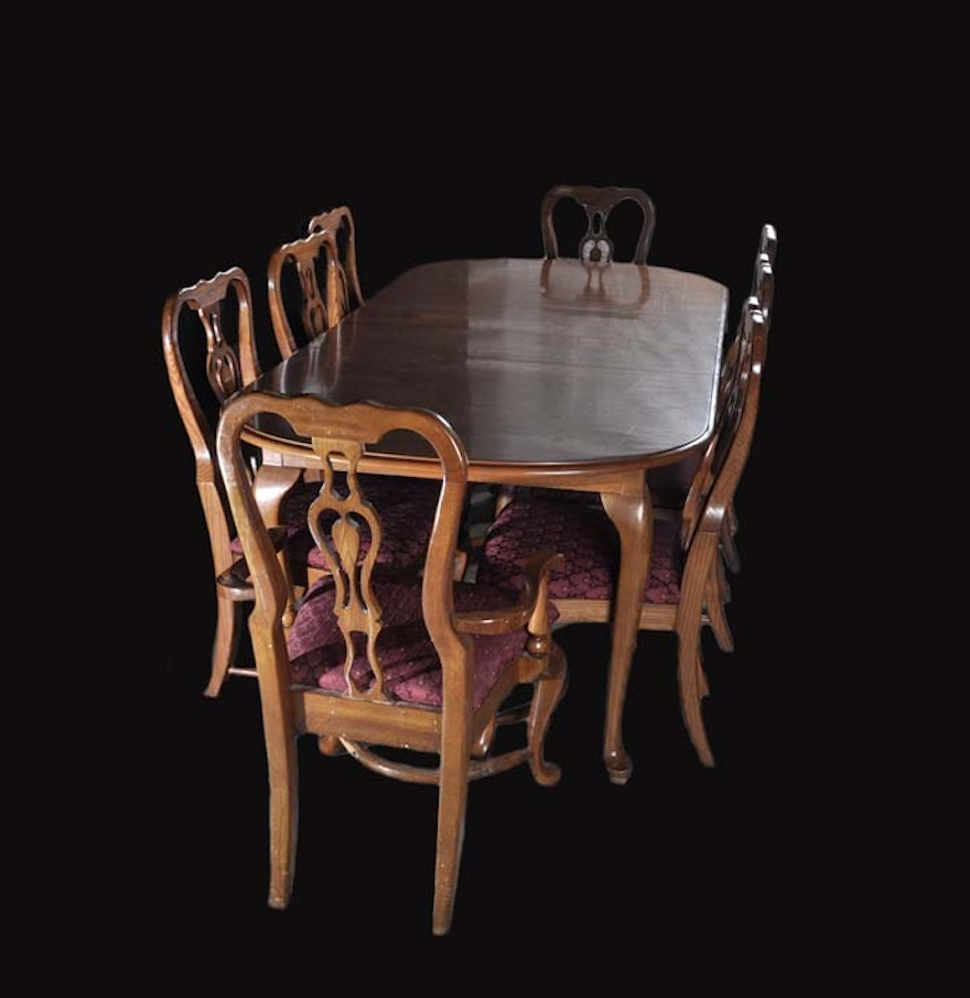 Dining room table and eight chairs ebth for 8 dining room chairs