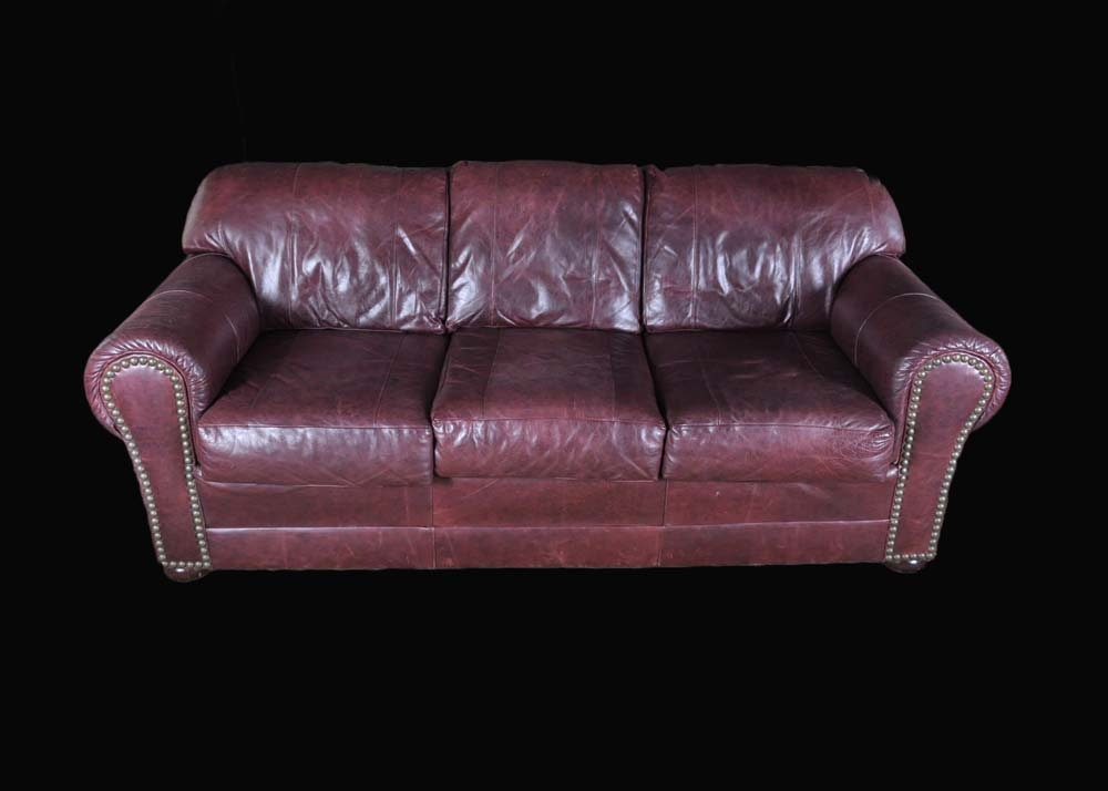 Morgan Stewart Burgundy Leather Sofa ...