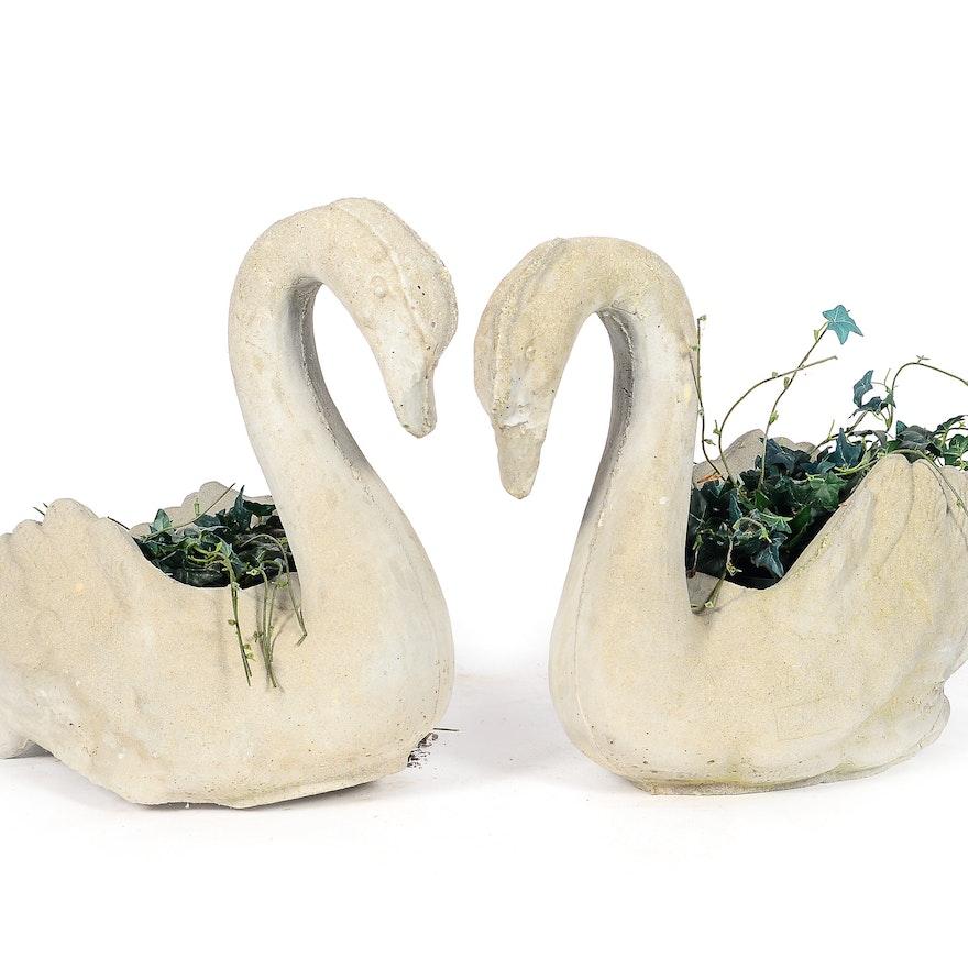 Pair Of Cement Swan Garden Statue Planters Ebth