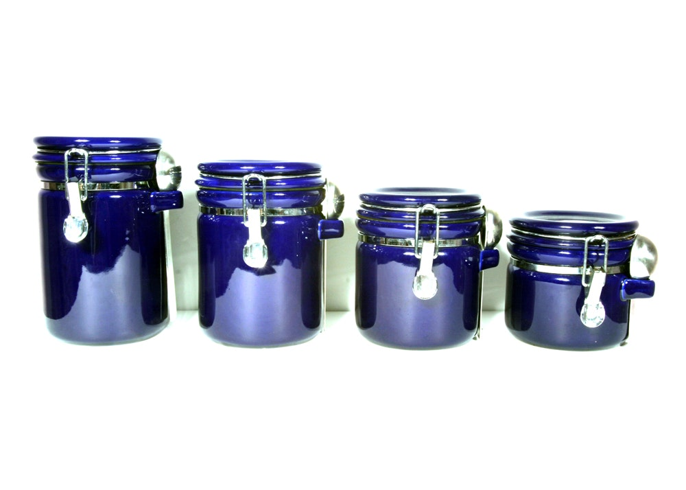oggi cobalt blue locking canister set with spoons ebth oggi cobalt blue locking canister set with spoons