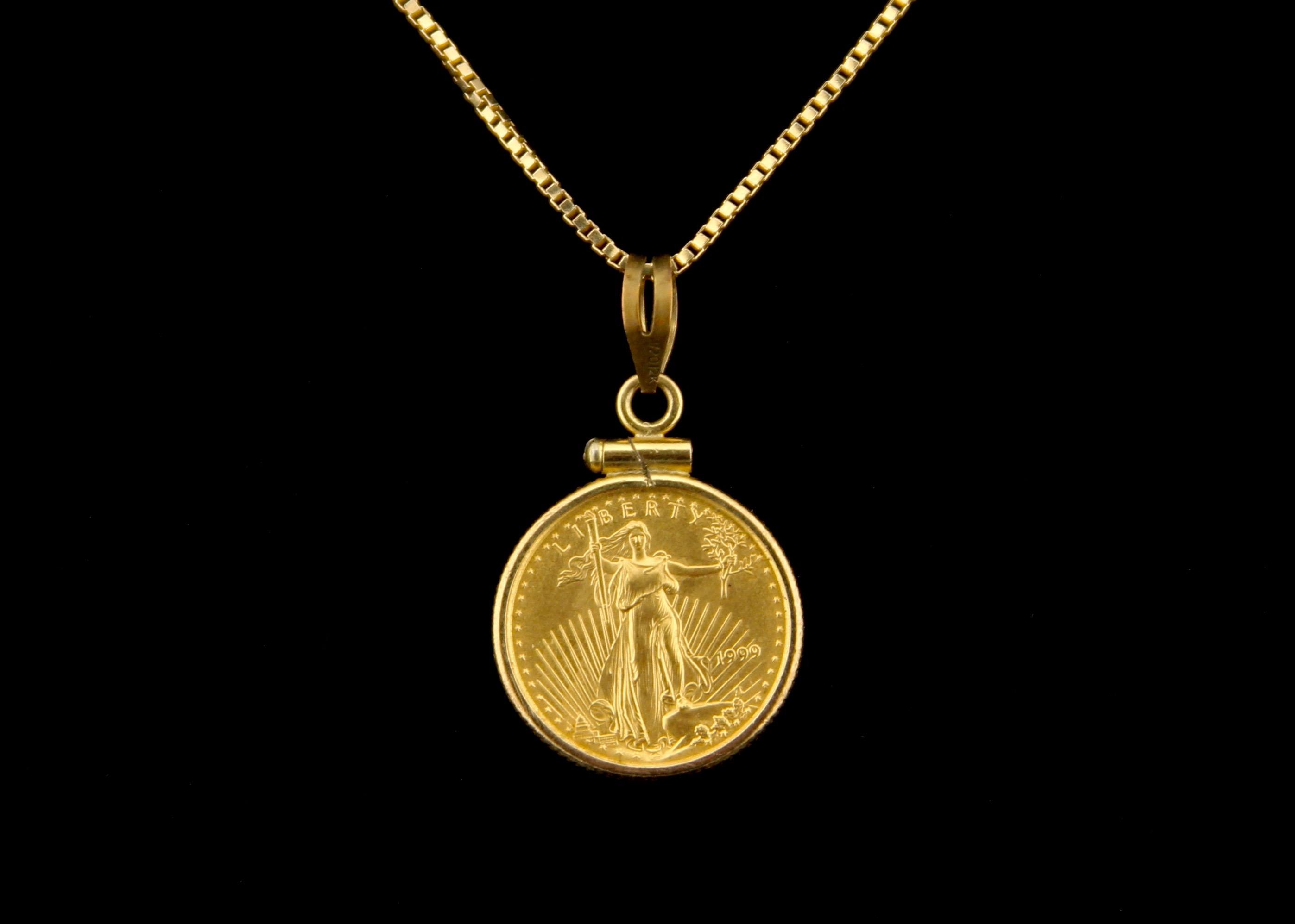 Five Dollar American Gold Eagle Coin on 14K Gold Box Chain EBTH