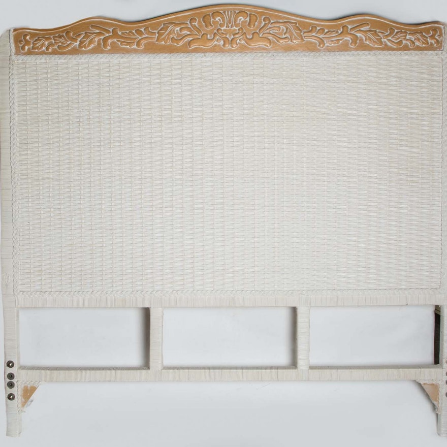 Pier 1 White Wicker Headboard And Bed Frame