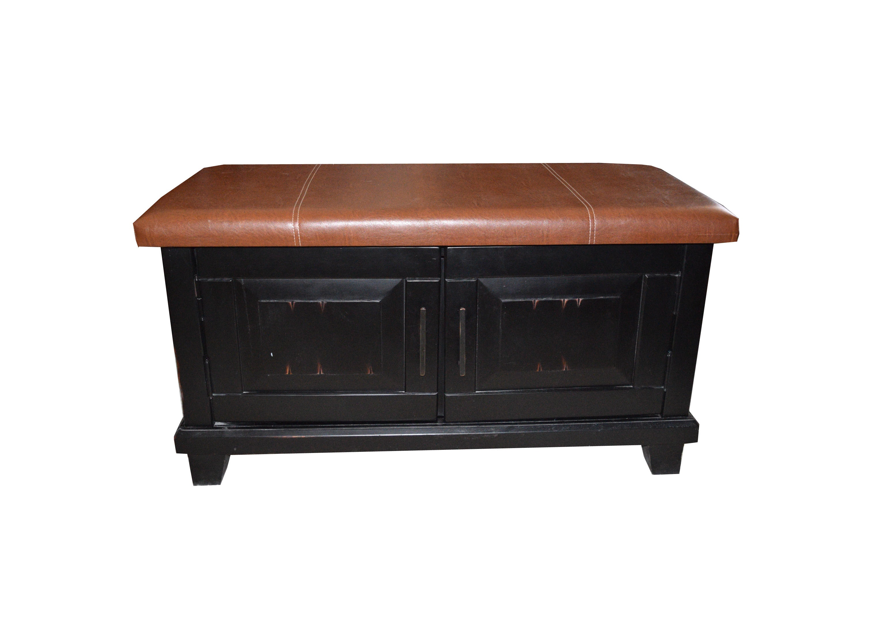 Pier1 Faux Leather Top Storage Bench : EBTH