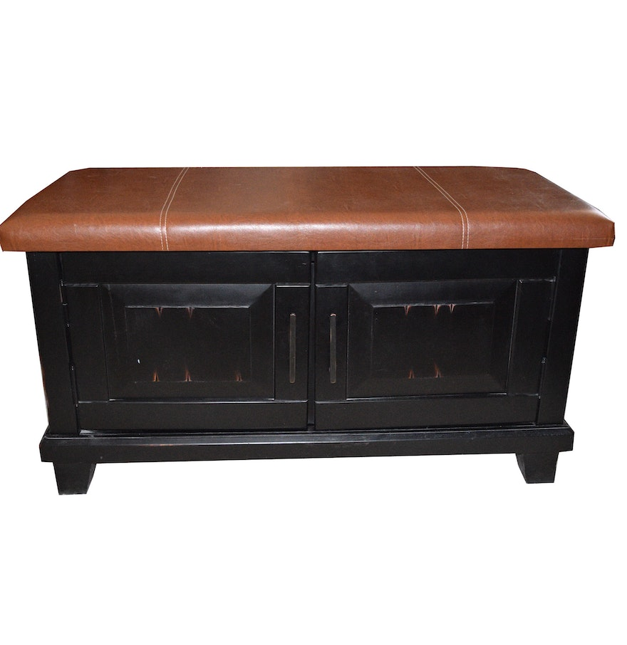 Pier1 Faux Leather Top Storage Bench Ebth
