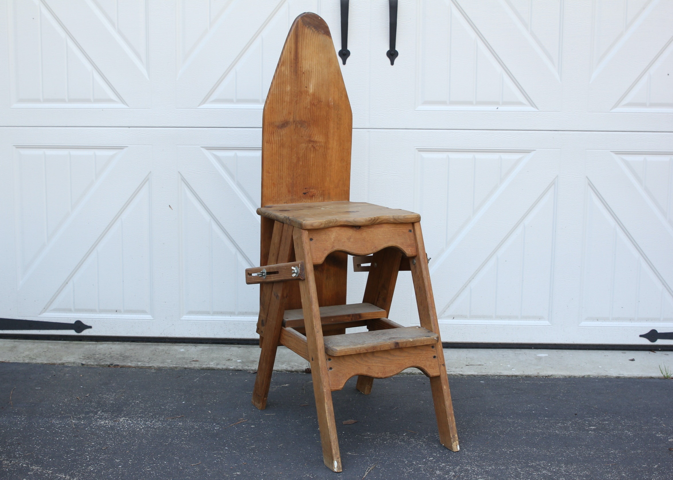 Vintage Amish Wood Ironing Board Ladder Chair Ebth