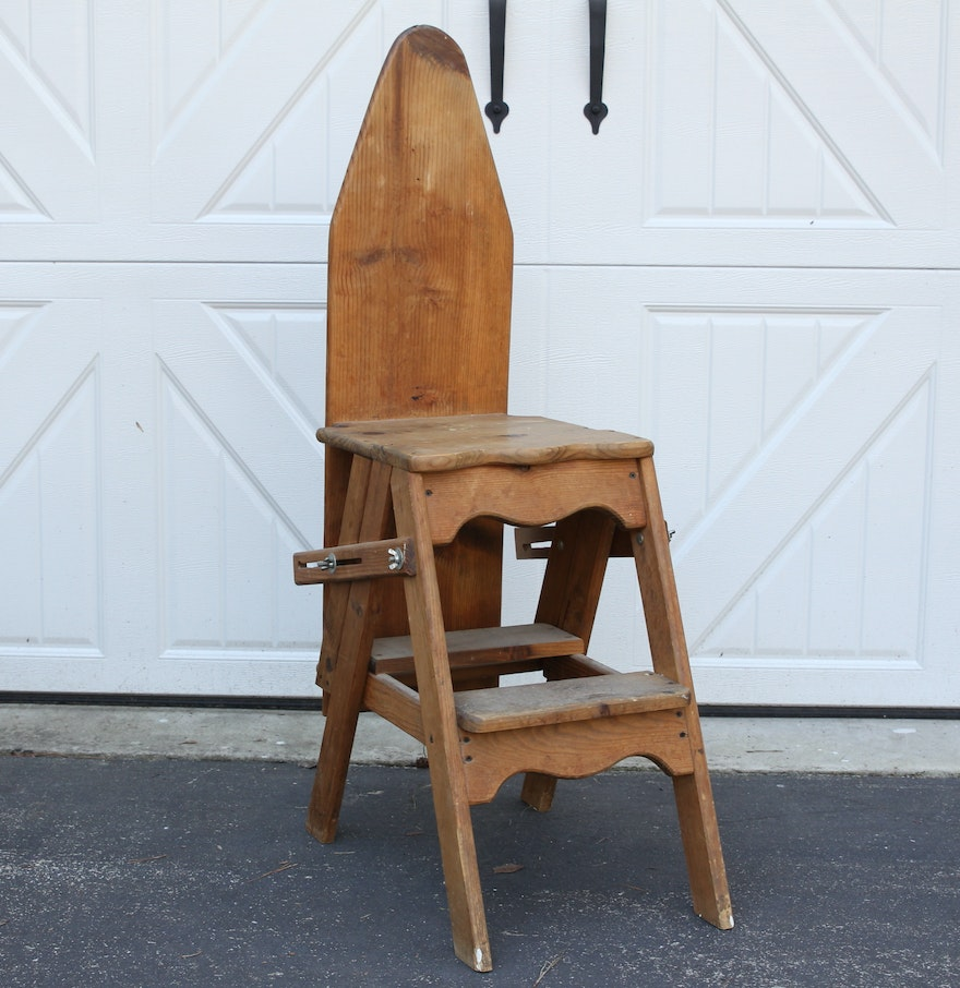 Vintage Amish Wood Ironing Board Ladder Chair ... - Vintage Amish Wood Ironing Board Ladder Chair : EBTH
