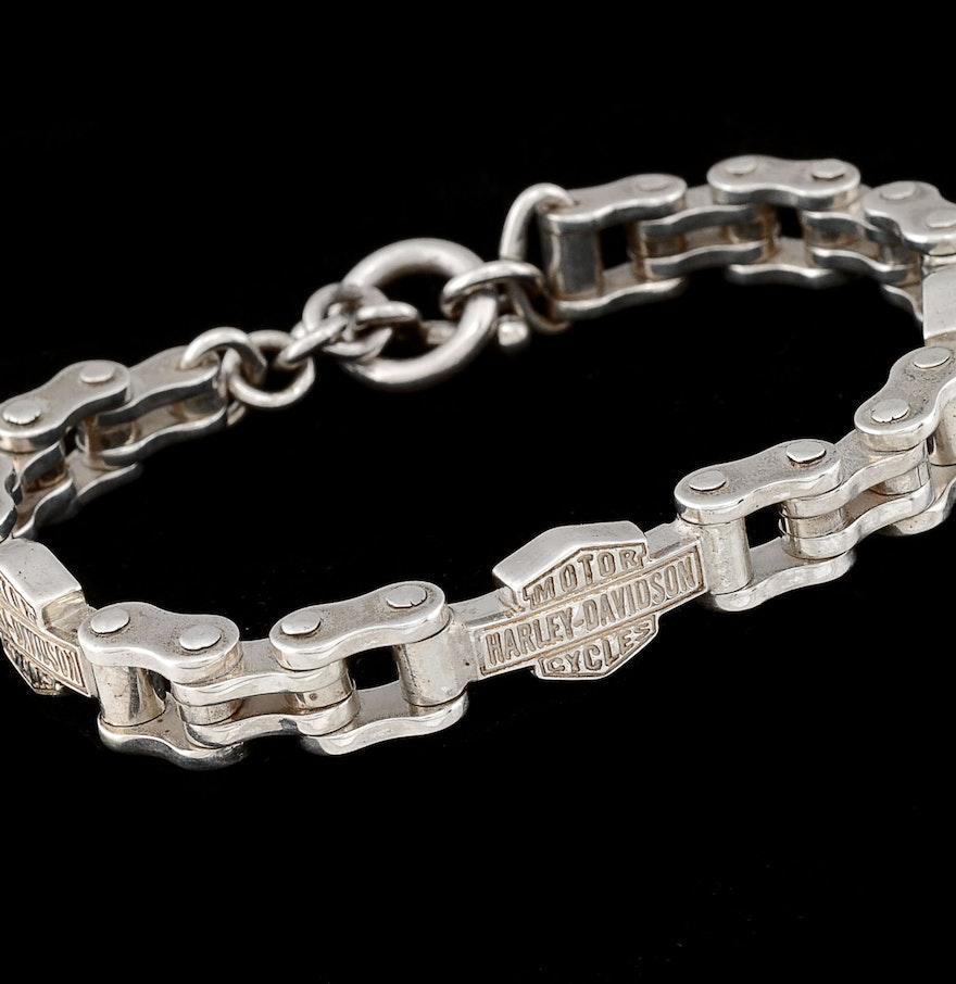 Harley Davidson Charm Bracelet: Mexican Sterling Harley-Davidson Bracelet : EBTH