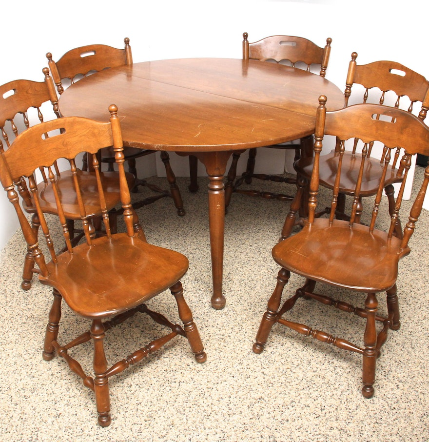 Ethan Allen Solid Oak Dining Table And Chairs : EBTH