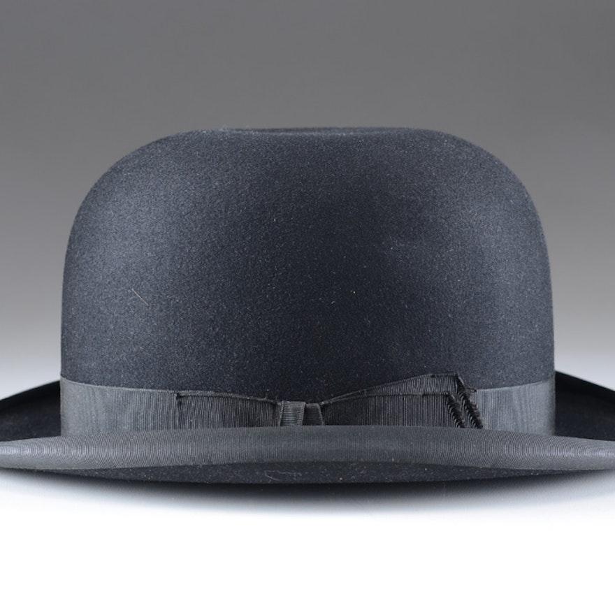 Men s Vintage John B. Stetson Company Felted Wool Bowler Hat ae552561353