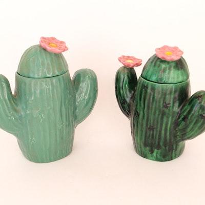 Duo of Cactus Cookie Jars