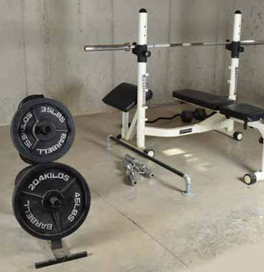 Mpex Powerhouse 1950 Weight Bench System And Accessories Ebth
