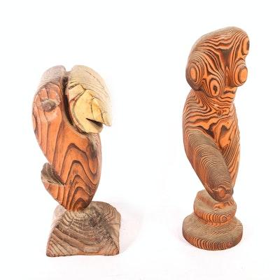 Pair of California Redwood Sculptures