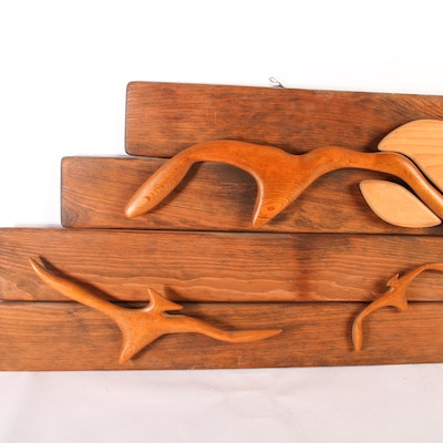 Abstract Hanging Wooden Sculpture