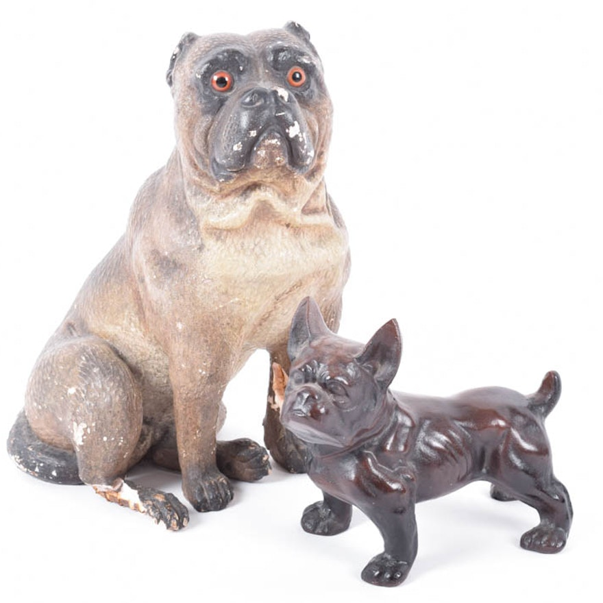 Antique Cast Iron Pug Dog Doorstop And Antique Painted Plaster Pug