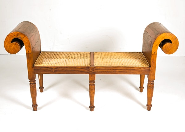 Oak Bench With Scroll Arms And Cane Seat Ebth