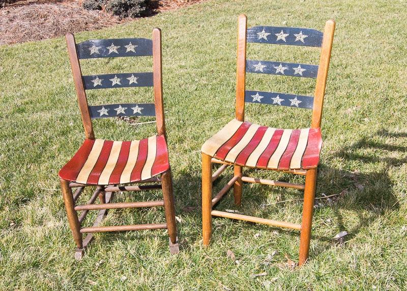 Vintage American Flag Theme Chairs ...