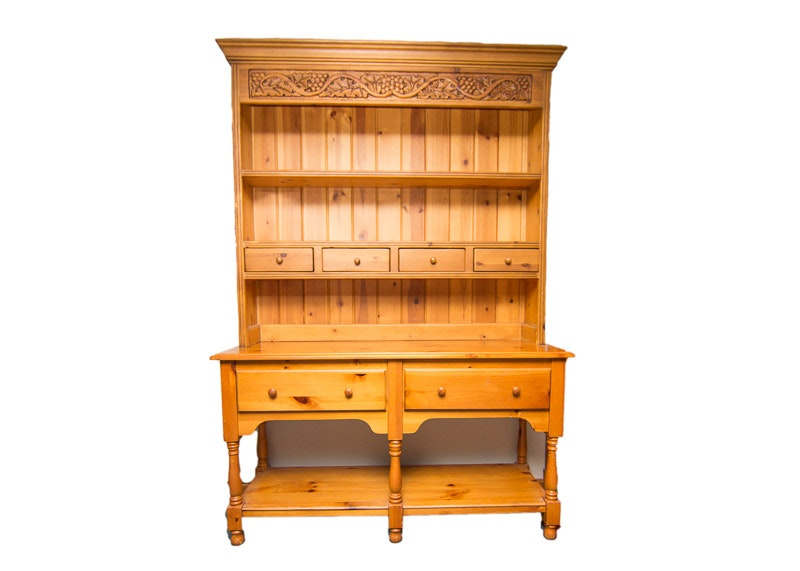 Country Style Pine Hutch EBTH