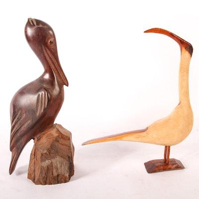Pair of Wooden Bird Sculptures
