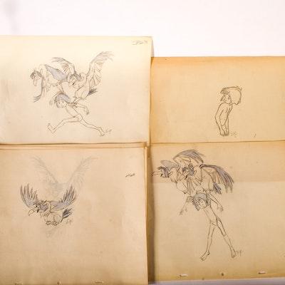 Original Jungle Book Sketches by Doris Plough